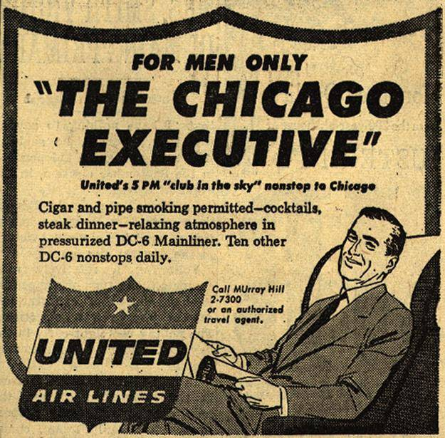 "United's ""for men only,"" nonstop to Chicago"