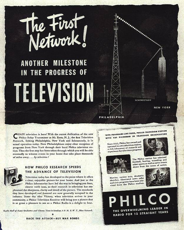 Philco TV ad effectively uses branded headlines